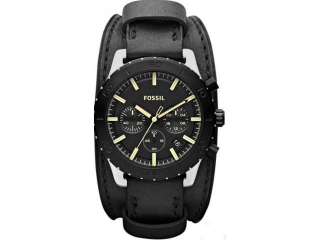 Fossil Keaton Chronograph Black Dial Black IP Steel Leather Mens Watch JR1394