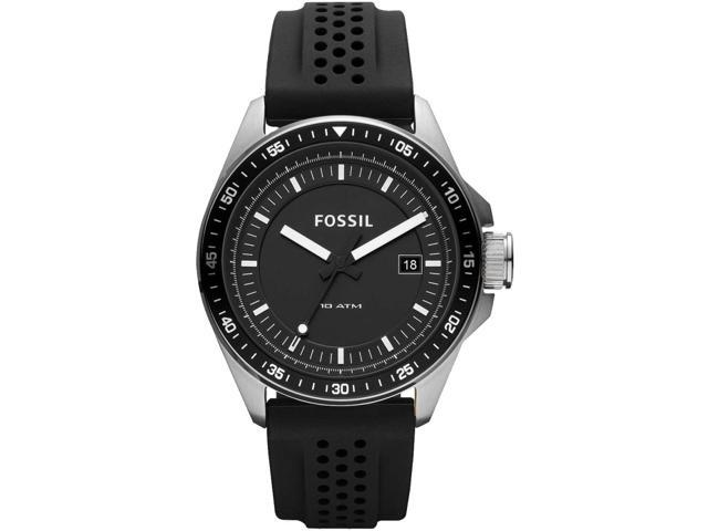 Fossil Decker Black Dial Black Silicone Mens Watch AM4384