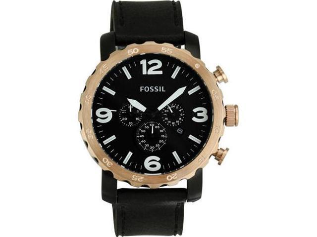 Fossil Nate Chronograph Black Dial Rose Gold-Tone Steel Mens Watch JR1369