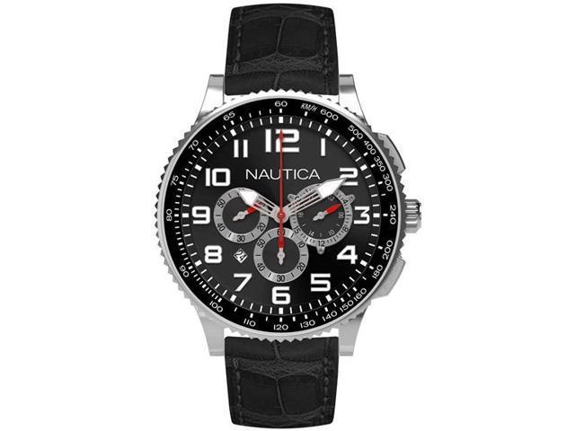 Nautica N22596M Men's Black Dial Leather Chronograph Watch