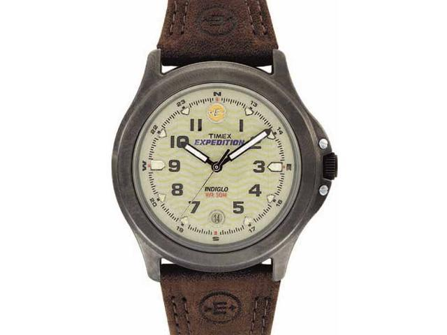 Timex Men's T47012 Brown Leather Quartz Watch with Green Dial