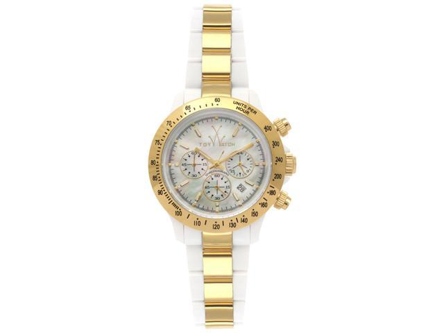 Toywatch Heavy Metal Plasteramic Gold Chrono White Watch 18218-GD
