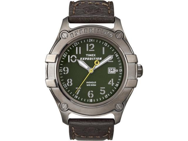 Timex T49804 Men's Expedition Brown Calf Skin Quartz Watch with Green Dial