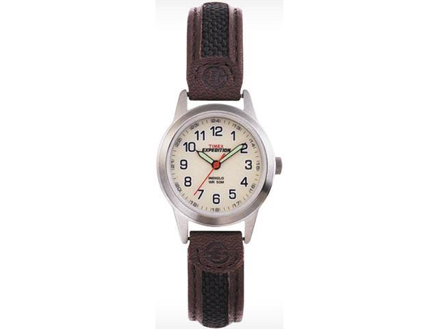 Timex Women's Expedition T41181 Brown Leather Quartz Watch with White Dial
