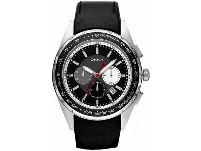 Men's Black DKNY Chronograph Leather Band Watch NY1488