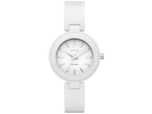DKNY Women's NY8550 White Ceramic Quartz Watch with White Dial