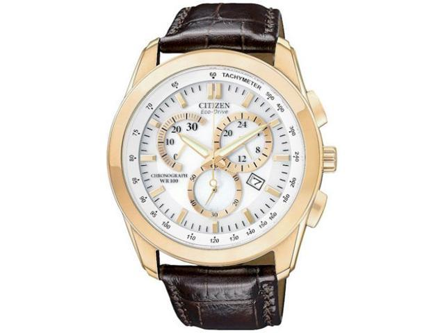 Citizen Eco Drive Rose Gold-Tone Chronograph Brown Leather Mens Watch AT1183-07A