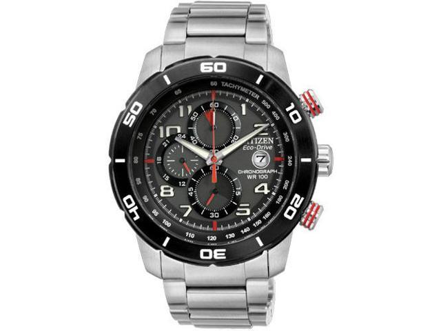Citizen CA0468-51E Eco-Drive Chronograph Stainless Steel Case and Bracelet Black Dial Date Display