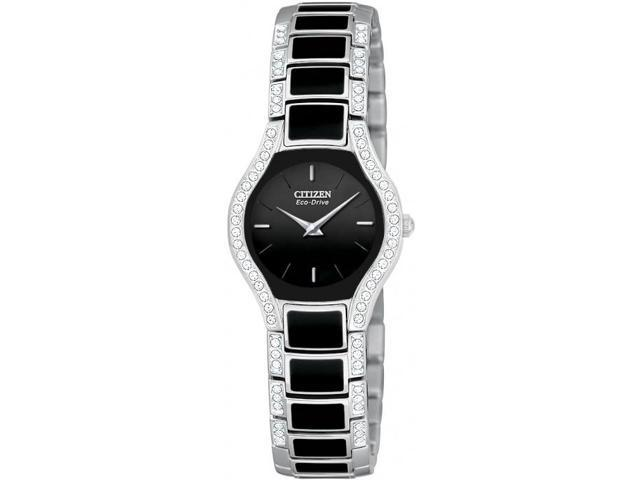 Citizen Eco-Drive Black Normandie Crystal Bracelet Gift Set Women's Watch #EW9870-64E