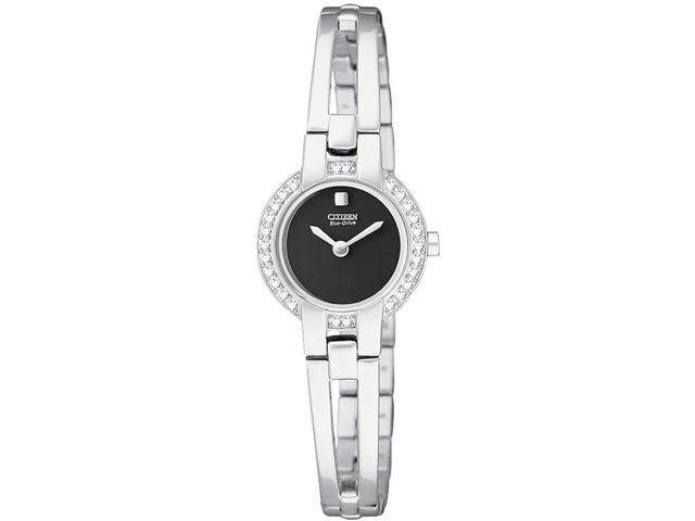 Citizen Silhouette Eco-Drive Black Dial Steel Bangle Ladies Watch EW9990-54E