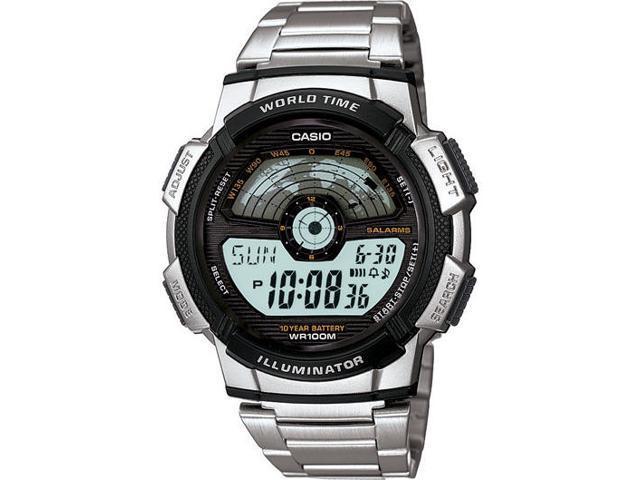 Casio Men's AE1100WD-1AV Silver Stainless-Steel Quartz Watch with Grey Dial
