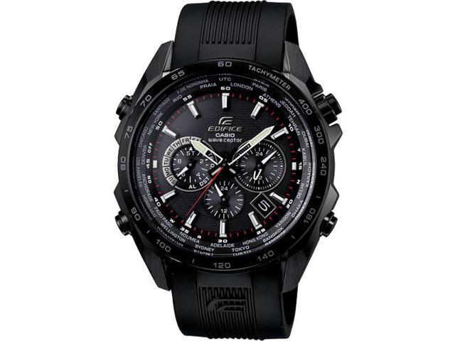 Casio EQWM600C-1A Edifice Black Label Edition Solar Self-Adjusting Multi-Band Atomic Alarm Chronograph Rubber Strap