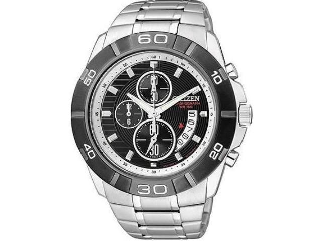 Citizen Men's AN3411-51E Silver Stainless-Steel Quartz Watch with Black Dial