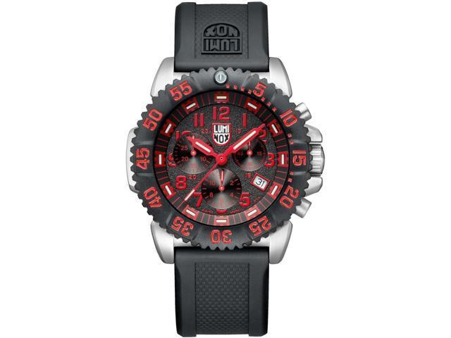 Luminox Navy SEAL Colormark Chronograph Black Dial Black Rubber Mens Watch 3195