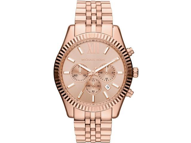 Michael Kors Lexington Chronograph Rose Dial Rose Gold-plated Mens Watch MK8319