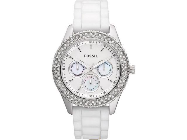 Fossil Stellla Glitz Multi-Function White Dial White Silicone Strap Watch ES3001