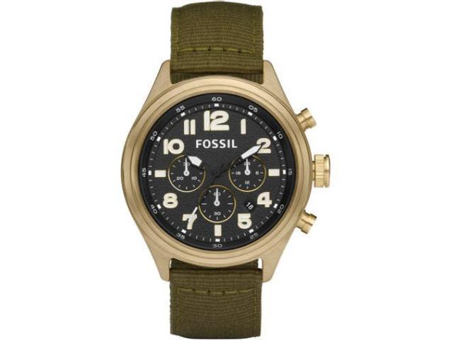 Fossil Classic Vintaged Bronze   & Olive Nylon Mens Watch   DE5018