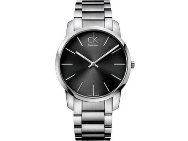 Calvin Klein Men's K2G21161 Silver Stainless-Steel Swiss Quartz Watch with Black Dial