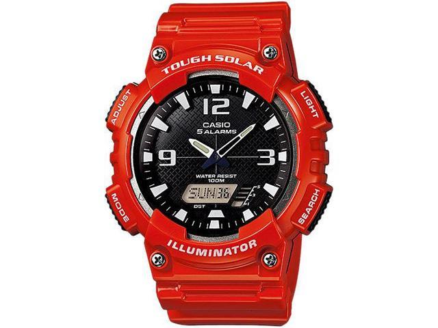 Casio #AQ-S810WC-4AV Men's Red Solar Analog Digital World Time Sports Watch