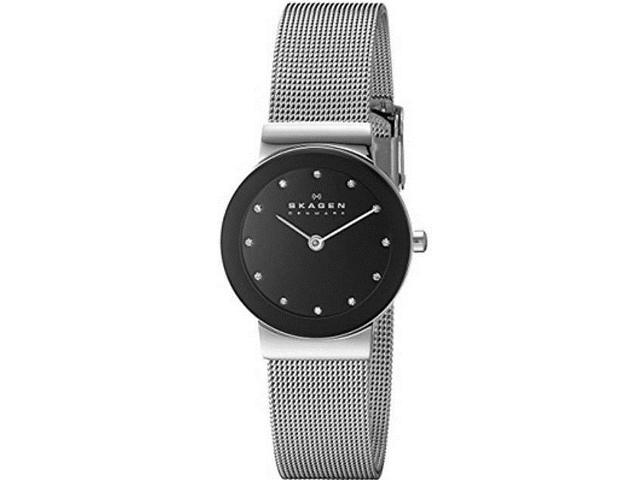Skagen Black Glitz Dial Ladies Steel Watch 358SSSBD