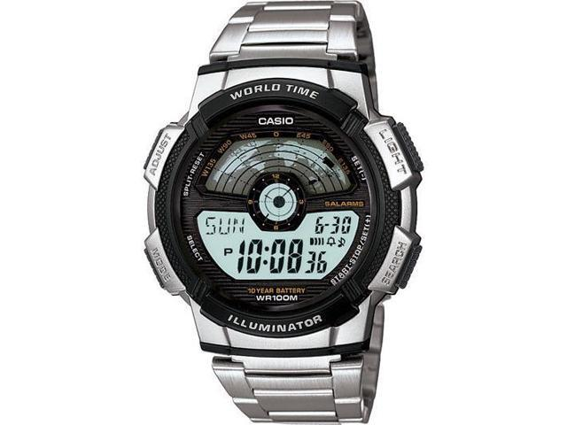 Casio Men's AE1100WD-1AV Silver Stainless-Steel Quartz Watch with Grey Dial