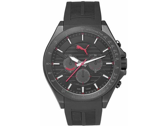 Men's Puma Forward Black And Red Chronograph Silicone Watch PU104021001