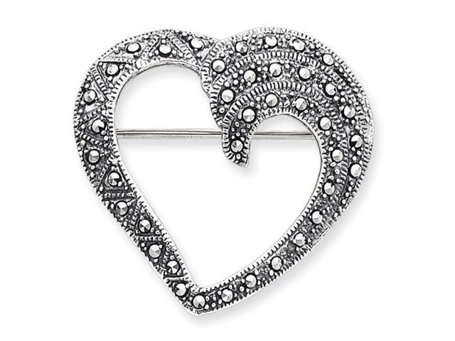 Sterling Silver Marcasite Heart Pin