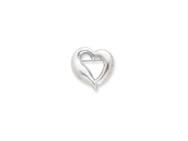 Rhodium-plated Polished Heart Pin