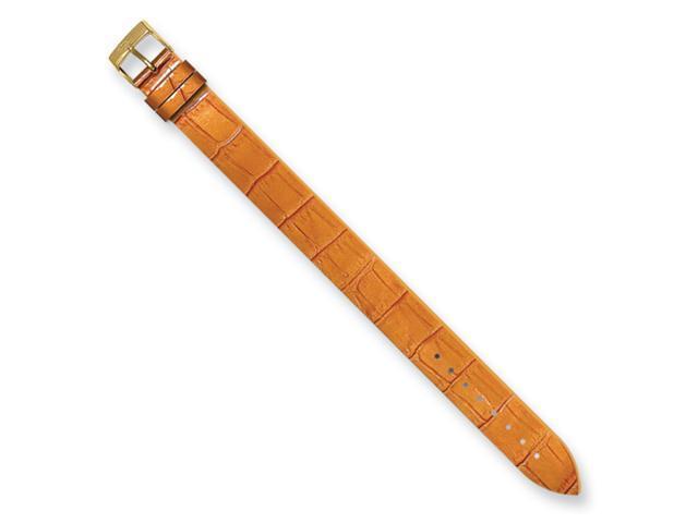Moog Gld-pltd Orange Allig Texture Patent Finish Calf Lthr Watch Band