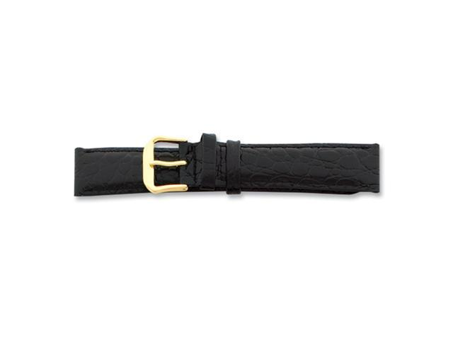18mm Extra Long Black Alligator Grain Gold-tone Buckle Watch Band