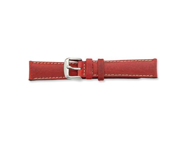 24mm Red Sport Leather White Stitch Silver-tone Buckle Watch Band