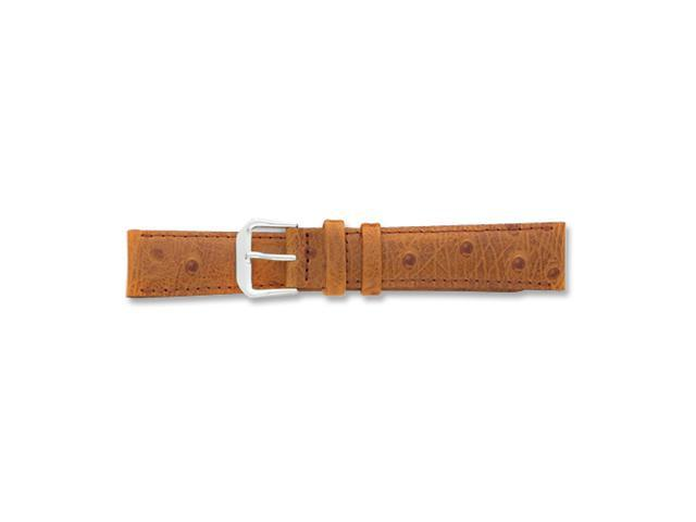 16mm Havana Ostrich Grain Leather Silver-tone Buckle Watch Band