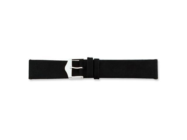 20mm Black Suede Silver-tone Buckle Buckle Watch Band