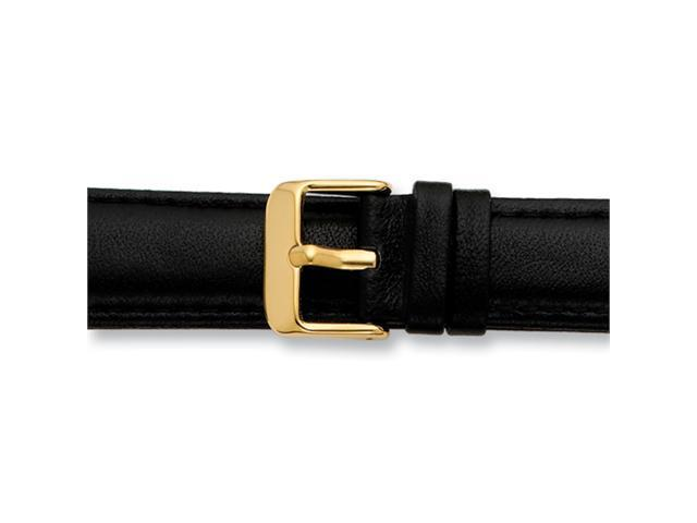14mm Black Glove Leather Silver-tone Buckle Watch Band