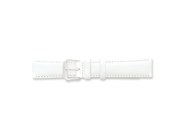 19mm White Smooth Leather Silver-tone Buckle Watch Band