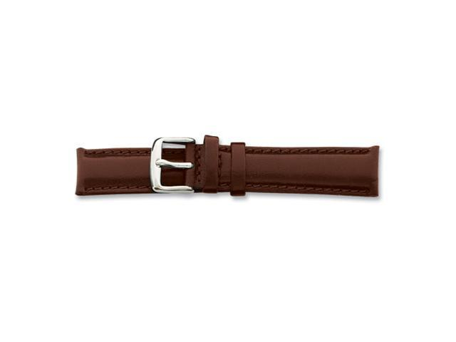 22mm Short Brn Smooth Lthr Chrono Slvr-tone Bkl Watch Band
