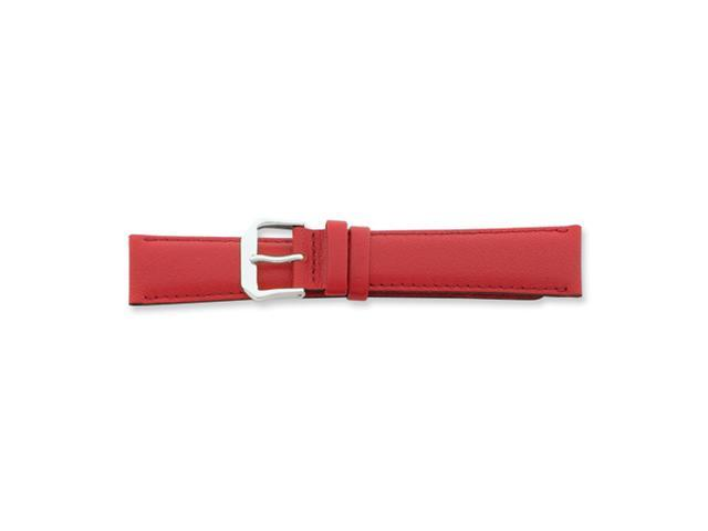 19mm Red Smooth Leather Silver-tone Buckle Watch Band