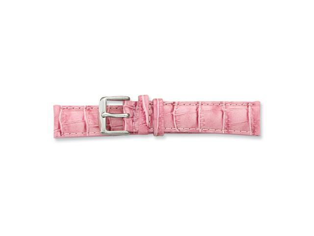 22mm Long Pink Croc Grain Chrono Silver-tone Buckle Watch Band