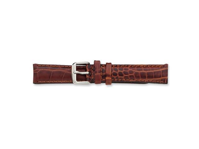 22mm Long Havana Baby Croc Chrono Silver-tone Buckle Watch Band