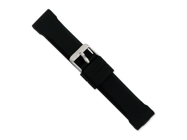 24mm Blk Smooth Bevel Silicone Rbbr Slvr-tone Bkle Watch Band