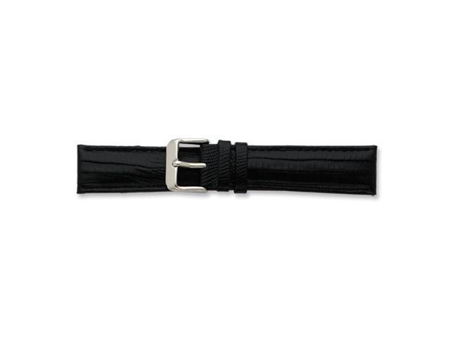 22mm Black Teju Liz Grain Lthr Slvr-tone Buckle Watch Band