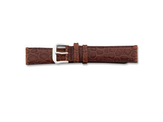 17mm Brown Alligator Grain Lthr Slvr-tone Buckle Watch Band