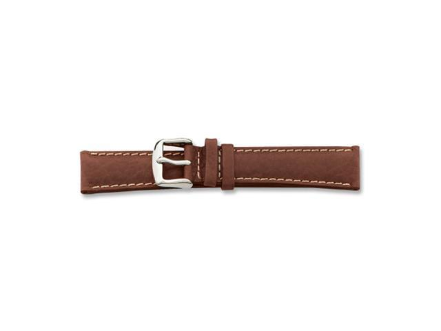 19mm Brown  Leather White Stitch Silver-tone Buckle Watch Band