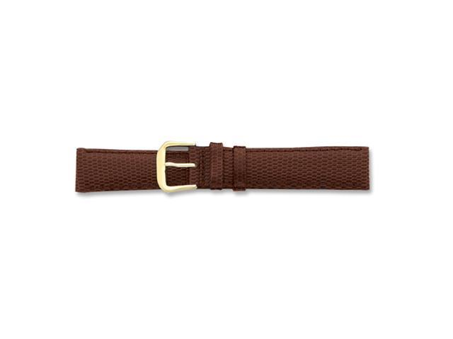 19mm Brown Lizard Grain Leather Gold-tone Buckle Watch Band