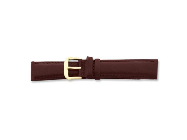 18mm Short Brown Smooth Lthr Gld-tone Buckle Watch Band