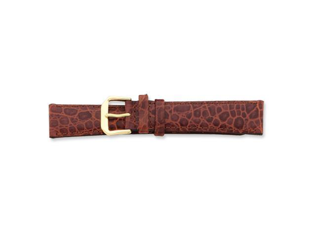 18mm Havana Alligator Grain Leather Gold-tone Buckle Watch Band