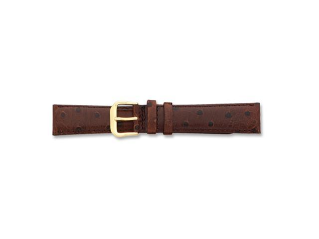 14mm Brown Ostrich Grain Leather Gold-tone Buckle Watch Band