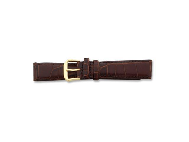 20mm Brown Baby Croc Dark Stitch Gold-tone Buckle Watch Band