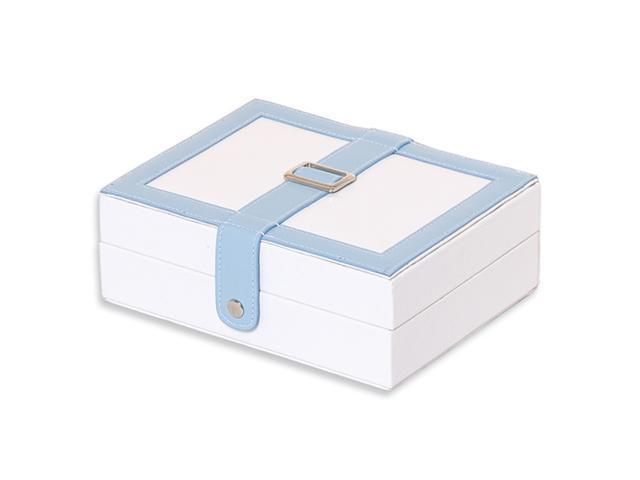 White with Blue Trim Jewelry Case