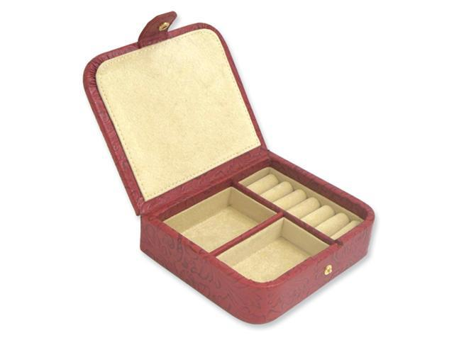 Red Flower Lether Jewelry Case